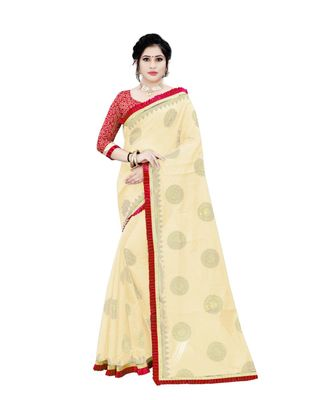 Women's cream Chanderi Cotton Saree with Jari and Satin Lace Border
