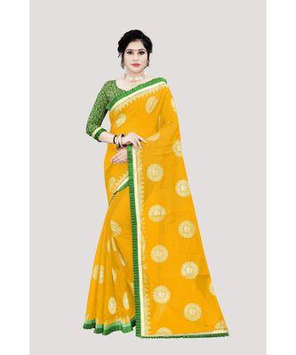 Women   s yellow Chanderi Cotton Saree with Jari and Satin Lace Border