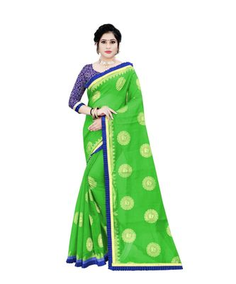 Women's green Chanderi Cotton Saree with Jari and Satin Lace Border