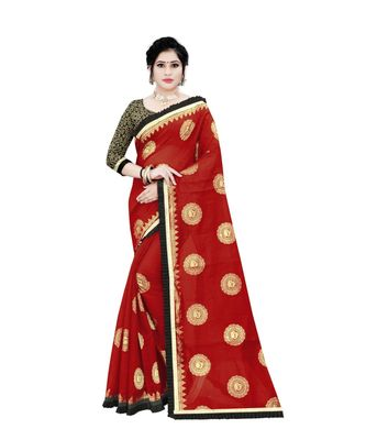 Women   s red Chanderi Cotton Saree with Jari and Satin Lace Border