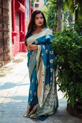 Rama Color Banglori Row Silk Saree