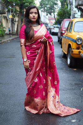 Pink color Banglori silk saree