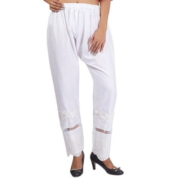 White Embroidered Cotton Palazzo for Women