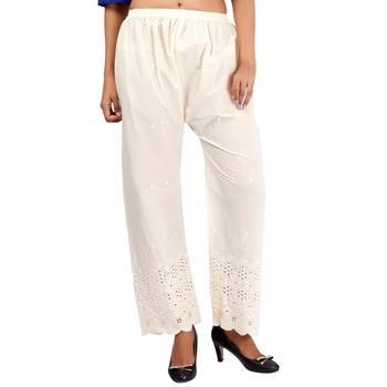 White Embroidered Work Cotton Palazzo for Women