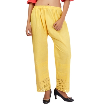 Yellow Embroidered Work Cotton Palazzo for Women