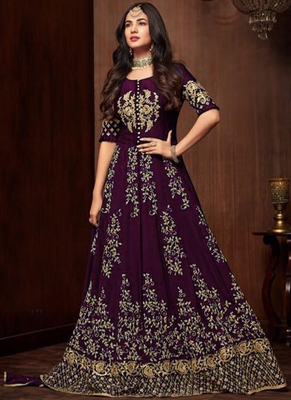 purple embroidered georgette semi stitched salwar with dupatta