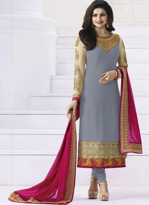 grey embroidered georgette semi stitched salwar with dupatta