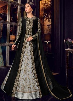 black embroidered silk blend semi stitched salwar with dupatta