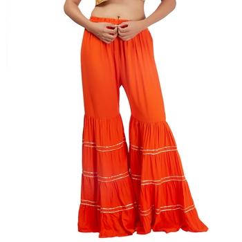 Orange Chikankari Rayon Palazzo for Women