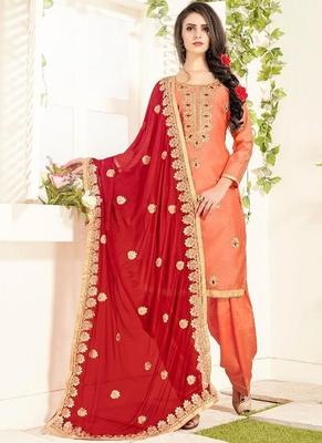 peach embroidered chanderi silk semi stitched salwar with dupatta
