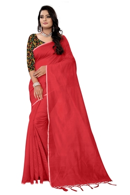 red plain cotton saree with blouse