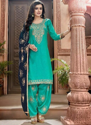 turquoise embroidered chanderi silk semi stitched salwar with dupatta