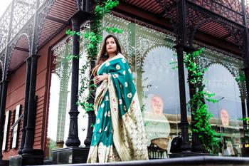 Bottle Green Color Banglori Silk Saree