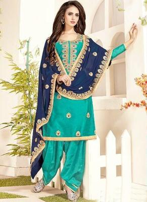 turquoise embroidered chanderi silk semi stitched salwar with dupatta