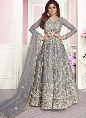 grey embroidered net semi stitched salwar with dupatta