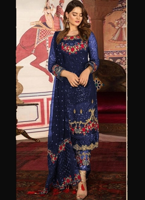 Blue Embroidered Net Semi Stitched Salwar With Dupatta