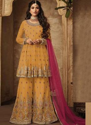mustard embroidered net semi stitched salwar with dupatta