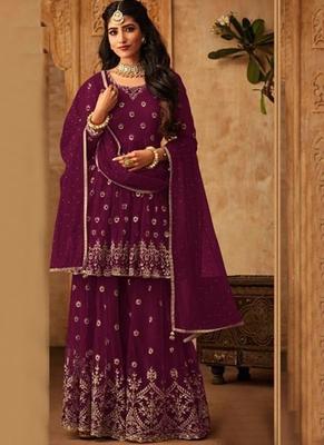 wine embroidered net semi stitched salwar with dupatta