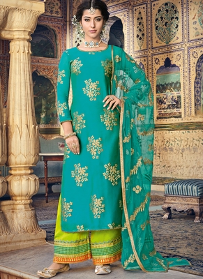 Turquoise Embroidered Silk Blend Semi Stitched Salwar With Dupatta