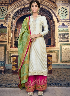 Off White Embroidered Silk Blend Semi Stitched Salwar With Dupatta