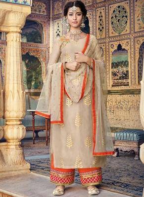 Beige Embroidered Silk Blend Semi Stitched Salwar With Dupatta