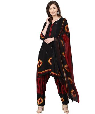 Black printed polyester unstitched salwar