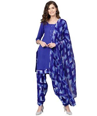 Blue printed polyester unstitched salwar