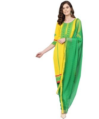 Yellow printed polyester unstitched salwar