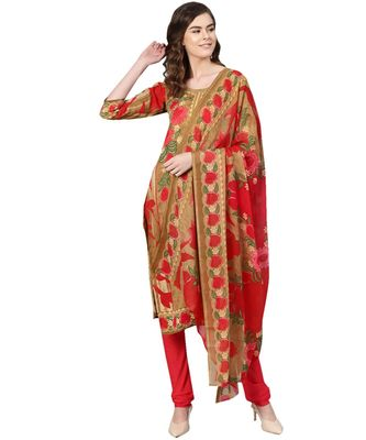 Brown printed polyester unstitched salwar