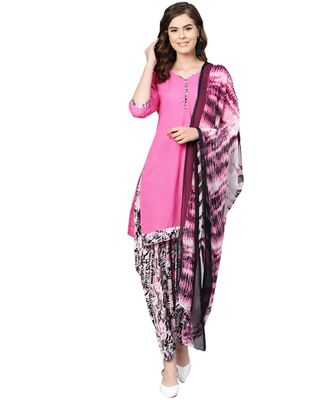 Pink printed polyester unstitched salwar