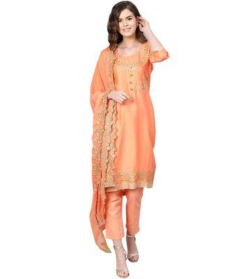 Peach printed cotton unstitched salwar