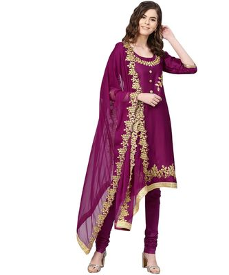 Purple printed cotton unstitched salwar