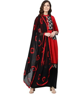 Red printed cotton unstitched salwar