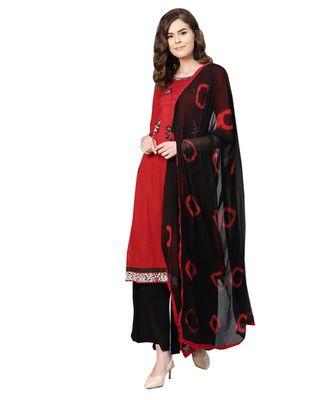Red printed cotton unstitched salwar