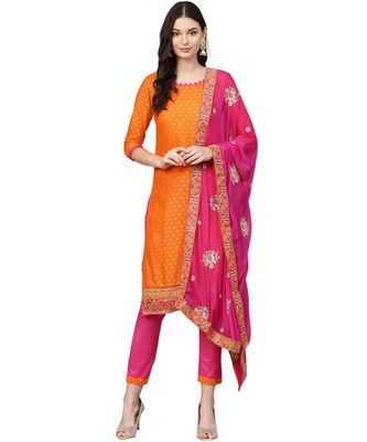 Orange printed cotton unstitched salwar
