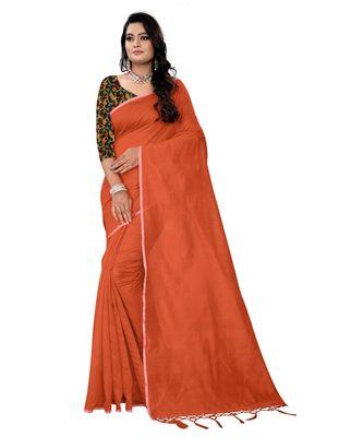 orange plain cotton saree with blouse