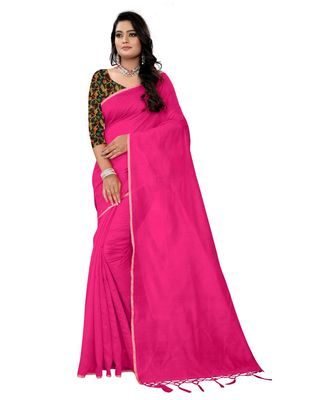 magenta plain cotton saree with blouse