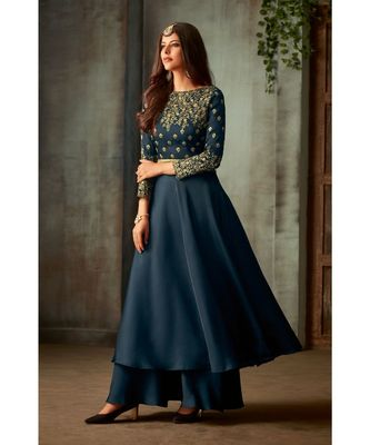 blue embroidered art silk semi stitched salwar with dupatta