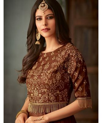 brown embroidered art silk semi stitched salwar with dupatta