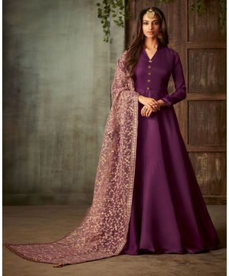 purple embroidered art silk semi stitched salwar with dupatta