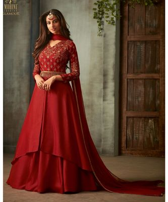 red embroidered art silk semi stitched salwar with dupatta