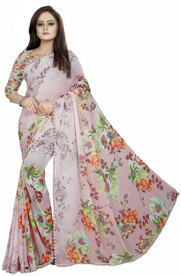 Light maroon printed georgette saree with blouse