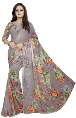 Light chocolate printed georgette saree with blouse