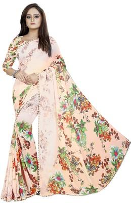 Light orange printed georgette saree with blouse