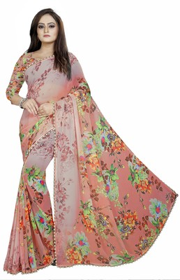 Light red printed georgette saree with blouse
