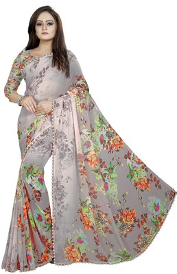 Light grey printed georgette saree with blouse