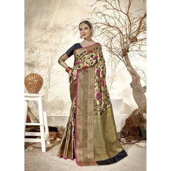 Golden woven jacquard saree with blouse