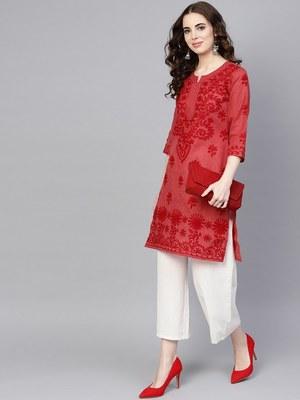 Maroon embroidered jute cotton chikankari-kurtis