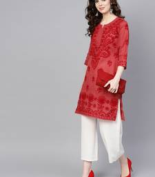 Maroon embroidered jute cotton chikankari-kurtis