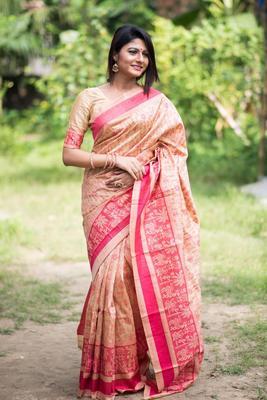 Multi Color Tassar silk weaving saree